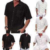 Men Summer Cotton Linen Short Sleeve Shirt Loose T-shirt Button Down Shirt LO