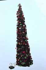PRELIT LIT LED RED GREEN 4FT POP UP TINSEL TREE COLLAPSIBLE CHRISTMAS PARTY