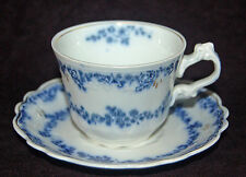 "BEAUTIFUL ANTIQUE FLOW BLUE W.H. GRINDLEY ""ALDINE"" CUP AND SAUCER - 1898"