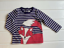 Jojo Maman Bebe Baby Girls Age 6-12 Months Cotton Top Little Fox Applique