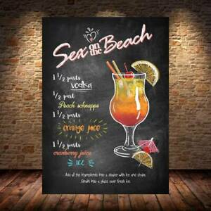 Sex On The Beach COCKTAIL RECIPE METAL SIGN PLAQUE Bar Cafe beer garden man cave