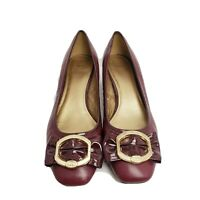 Circa Joan and David 8.5 M red-brown leather low heels with gold accents