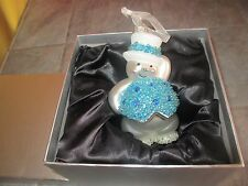 "Beaded Mercury Glass ?  "" SNOWMAN "" Ornament with BOX"
