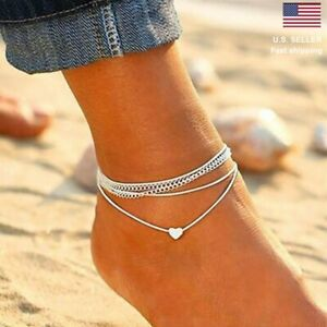 Fashion Love Heart Ankle Bracelet Foot Chain 925 Silver White Women Anklet Gifts