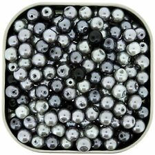 Glass Pearls Round Beads 6mm Silver-Grey Mix 200pcs (gprd06m-SGY)