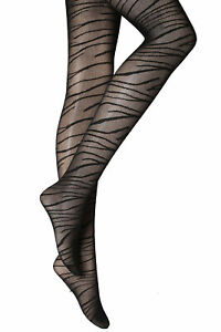 Micro Fishnet Tights with Animal Pattern Zebra, Patterned Fishnets, One Size