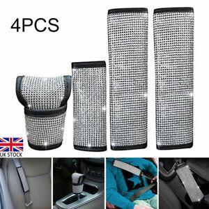 4Pcs/Set Bling Crystal Belt Covers Car Seat Handbrake & Gear Knob Dust Cover UK