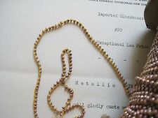 4 Yds Vintage Antique Metallic Taupe Seed Beads Stitched on Thread Doll Costumes