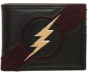 The Flash Lightning Bolt Black And Red Metal Logo Bi-Fold Wallet