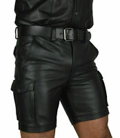 MENS LEATHER CARGO SHORTS SEXY GAY FETISH CLUBWEAR SHORT POLICE SHORT WITH BELT