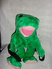 """Claire's Frog 16""""  Zipper Pocket Backpack Plush Soft Toy Stuffed Animal"""