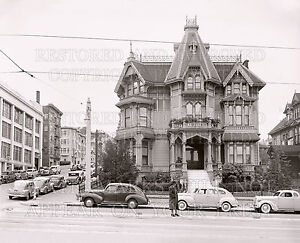 new 8x10 photo: Victorian house San Francisco CA 1940s Van Ness & Washington St.