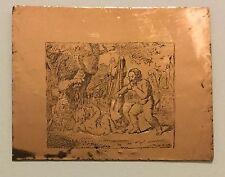 Antica Incisione Su Lastra Di Rame Matrice Per Stampe - Allegoria Teatro Greco