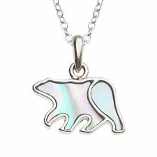 Polar Bear Necklace White Mother of Pearl Pendant Silver Jewellery Gift Boxed