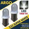 NEW 2 X WHITE LED BULBS 12 VOLT BULBS 233,T4W,BA9S SIDE LIGHT INTERIOR 233LED