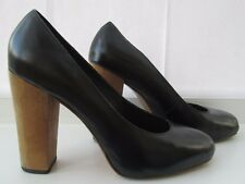 ASOS size 7 (40) black leather hidden platform court high heels