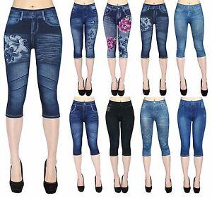Capri Leggings Damen Jeggings 3/4 in Jeans Optik Sommer Leggings Kurz