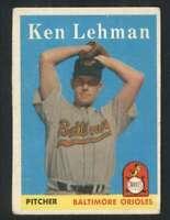 1958 Topps #141 Ken Lehman VG/VGEX Orioles 80955