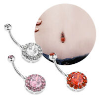 14G Stainless Steel Belly Navel Button Ring Double Crystal Gem Body Piercing