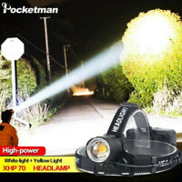 XHP70 200000LM Led Headlamp Headlight USB Rechargeable Torch Yellow White Light