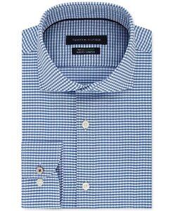 Tommy Hilfiger Men Dress Shirt Blue Size 17 1/2 Gingham Slim Fit Stretch $79 213
