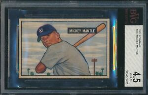 1951 Bowman MICKEY MANTLE Rookie New York Yankees BGS BVG 4.5 CENTERED !