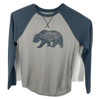 Men's The North Face TNF Heritage Bear Heather Gray Long Sleeve T Shirt Tee Sz M