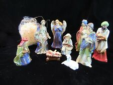 9 Burton & Burton Nativity Set Ceramic Figurines & Straw Only - Flaws