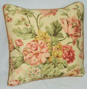 "Corded Accent Pillow made w Ralph Lauren Sussex Garden Floral Cotton Fabric 16"""