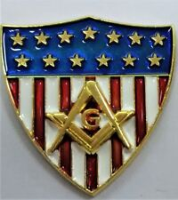 MASONIC AMERICAN FLAG SHIELD SQUARE AND COMPASS                        (MMP-SSC)