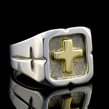Unique Sterling Silver 14kt yellow gold cross ring size 11