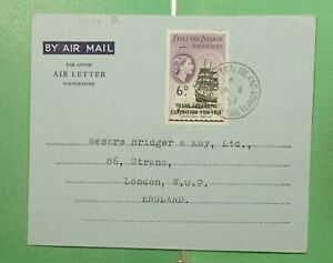 DR WHO 1957 FALKLAND ISLANDS SHETLANDS ANTARCTIC AEROGRAMME TO ENGLAND g11343