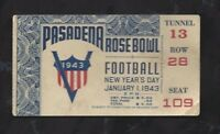 1943 Rose Bowl college football ticket stub UCLA Bruins v Georgia Bulldogs