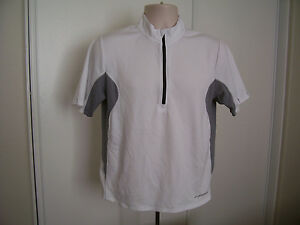Brooks 1/2 Zip Front Cycling Jersey Men's Small White Gray Sports Shirt