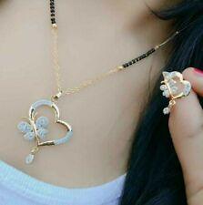 Mangalsutra Women Indian Gold Jewelry Daphne Zircon Plated Chain Gift Black Bead