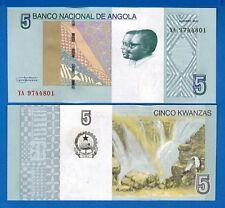 Angola P-New 5 Kwanzas Year 2017 Waterfalls Uncirculated Banknote