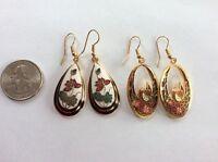 Lot 4pcs Gold Cloisonné Floral Swan ART enamel Maroon Red Green Dangle earrings