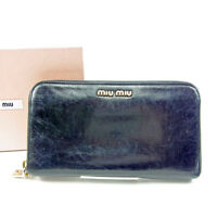 miumiu Wallet Purse Logo Black Gold Woman unisex Authentic Used T3760