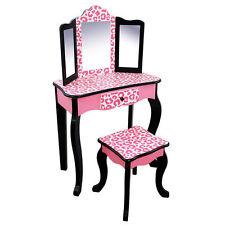 Girls Leopard Vanity Set Stool Mirror Make Up Table 3 Pc Drawer