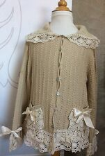 I PINCO PALLINO CARDIGAN SWEATER Tan Cream LACE TRIMMED Girls 10 12 ITALY Euro