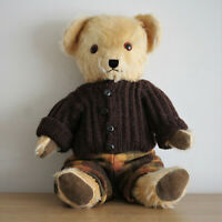 Golden Mohair 18 Inch Teddy Bear, Amber Glass Eyes, Fully Jointed, Vintage, VGC