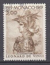 TIMBRE  MONACO OBL N° 804   LEONARD DE VINCI  UN CONDOTTIERE