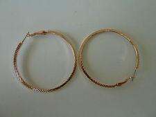22k rose gold plated hoop earrings (50mm Diam.) Womens quality fashion Jewellery