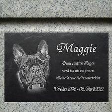 Bulldogge GRABSTEIN Tiergrabstein Grabmal Hunde Hund-024 ►Textgravur◄ 30 x 20 cm