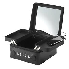 NEW stila black patent pleather The Makeup Player 2in1 train case+speaker system
