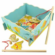 Colorful Wooden Magnetic Fishing pond puzzle Game 11 Fish + 2 Rods Toy Gift