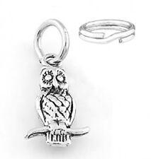 STERLING SILVER OWL SITTING BRANCH CHARM W/SPLIT RING