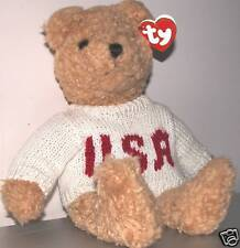 """TY, Classic """"Baby Curly"""" USA bear, Patriot, 4th of July plush, all ages, prior 2"""
