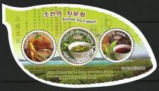 Korea 2018 Kangryong Green Tea, leaf - shaped sheet, round stamps