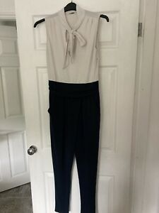 Ladies Navy & Cream Pussybow Jumpsuit Size 10/12